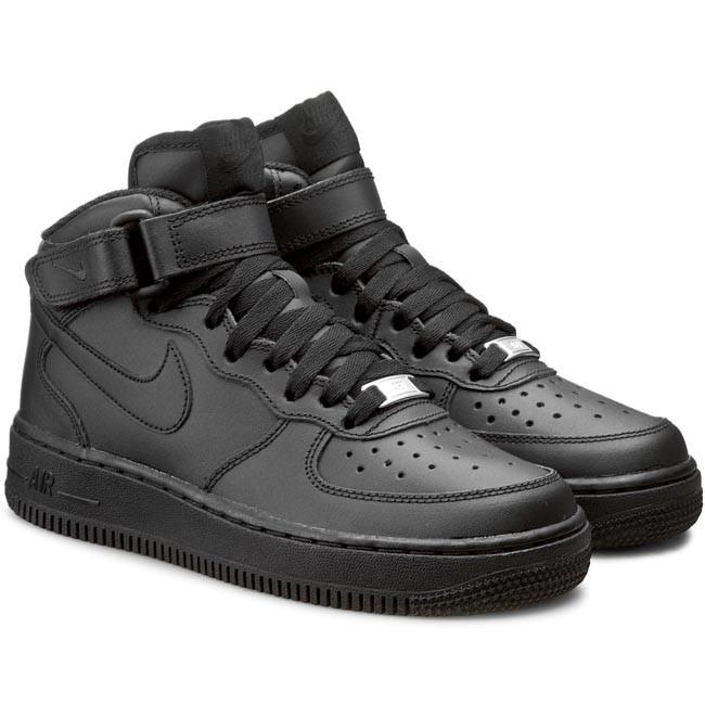 Schuhe NIKE - Air Force 1 Mid (GS) 314195 004 Black/Black - Sneakers - Halbschuhe - Damenschuhe WxO5lSA0