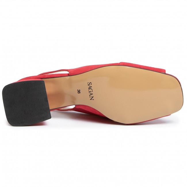 Sandalen SAGAN - 3956 Czerwony Welur - Alltägliche Sandalen - Sandalen - Pantoletten und Sandaletten - Damenschuhe 0H5D1FTo