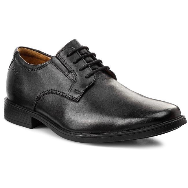 Halbschuhe CLARKS Tilden Plain 261103507 Black Leather